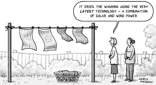 "Comic by Chris Madden: ""It dries the washing using the very latest technology"""