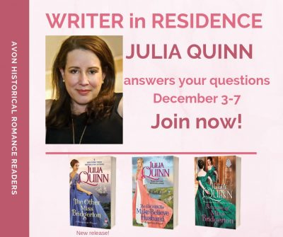 Graphic: Writer in Residence Julia Quinn/Avon Historical Romance Readers group on Facebook