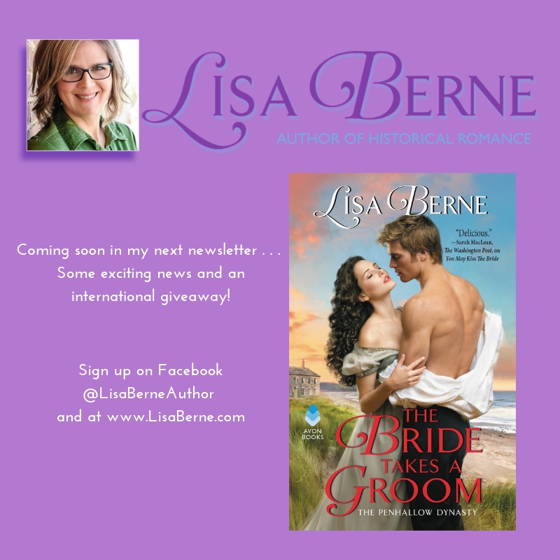Graphic: Coming soon in my next newsletter, via Lisa Berne, author of historical romance (Avon Books)