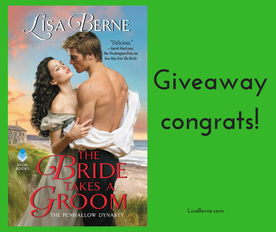 Graphic: The Bride Takes a Groom by Lisa Berne - giveaway congrats