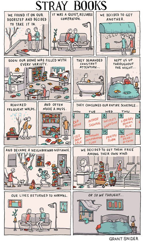 """Comic: """"Stray Books"""" by Grant Snider"""