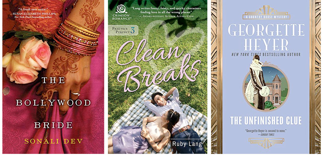 Graphic: Lisa Berne book recommendations: The Bollywood Bride, Clean Breaks, The Unfinished Clue