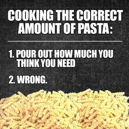 """Meme: """"Cooking the correct amount of pasta"""""""