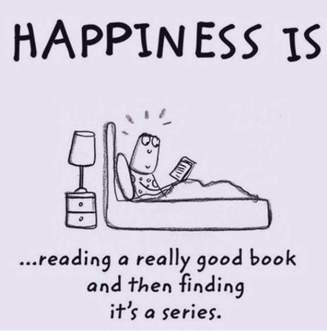 "Graphic: ""Happiness is . . ."" by The Book Queen, via Bookstr"