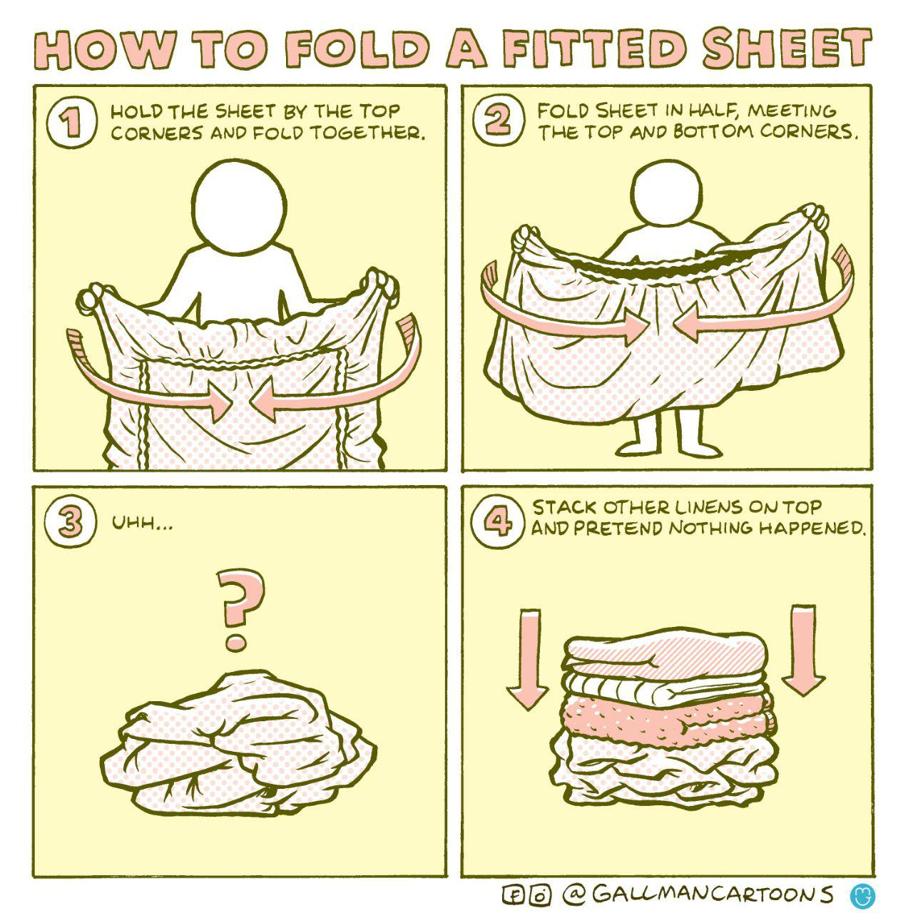 "Comic: ""How to fold a fitted sheet"""