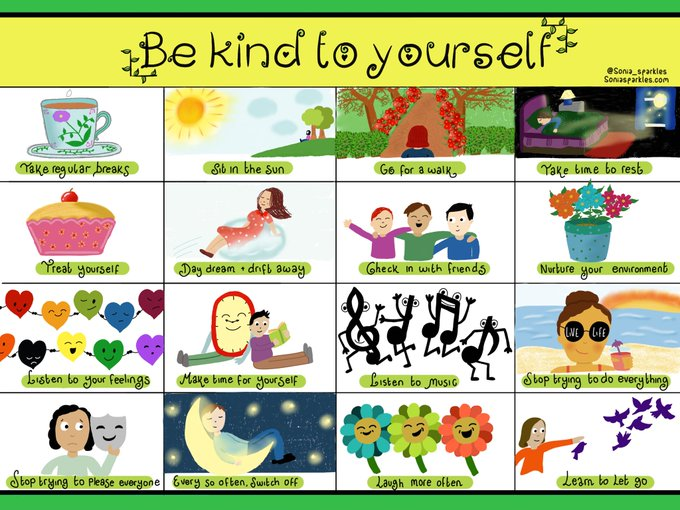 Graphic: Be Kind to Yourself - shared via LisaBerne.com