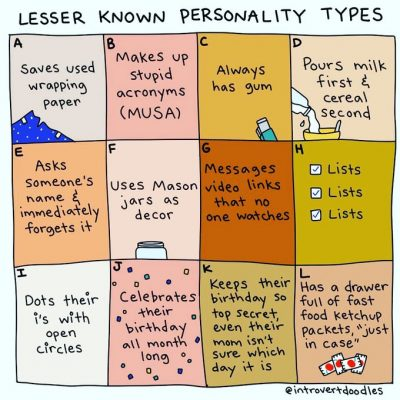 Graphic: Lesser known personality types - shared via LisaBerne.com