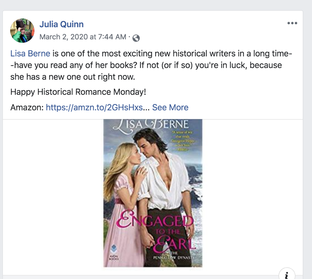 """Photo: """"Lisa Berne is one of the most exciting new historical writers in a long time,"""" says Julia Quinn, shared by LisaBerne.com"""