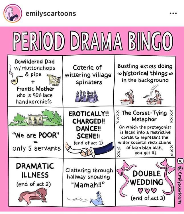 "Comic: ""Period Drama Bingo,"" shared via LisaBerne.com"