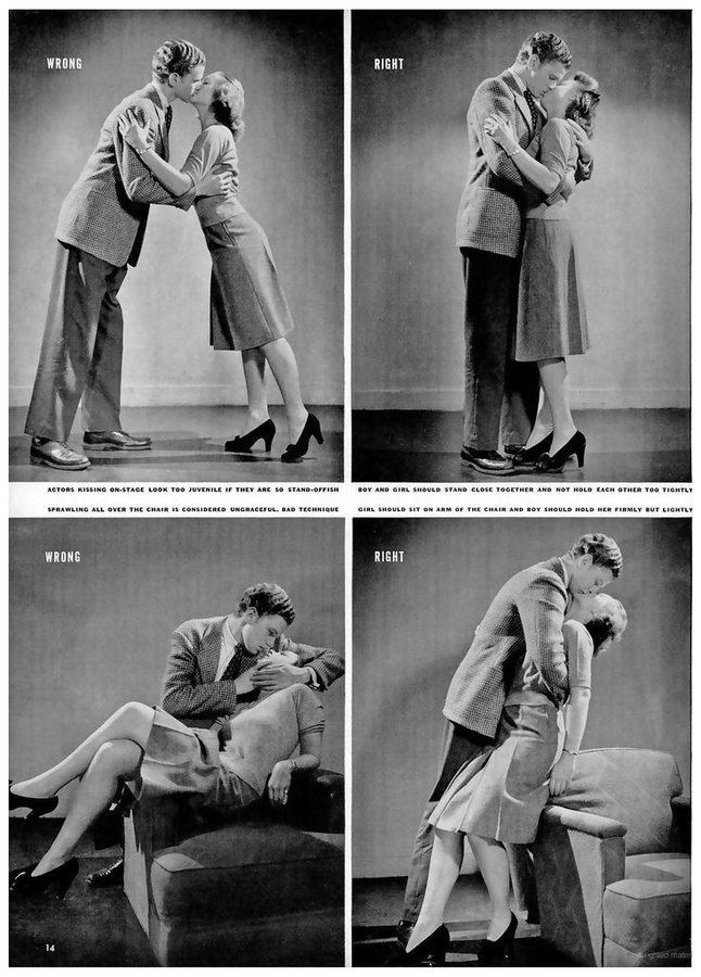 "Image: 1942 infographic: ""How to kiss"""