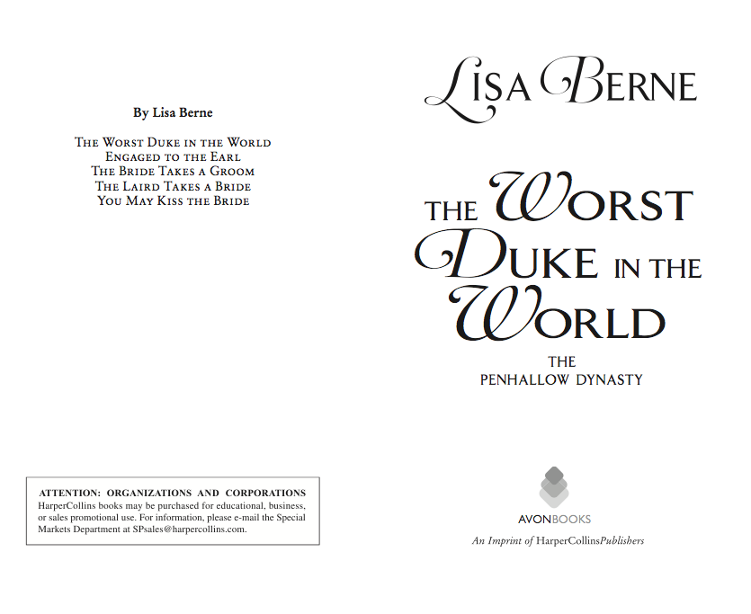 Photo: interior page from The Worst Duke in the World by Lisa Berne (Avon Books)