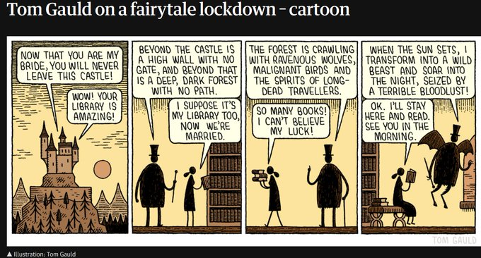 "Comic: ""Fairytale lockdown"" by Tom Gauld, shared via LisaBerne.com"