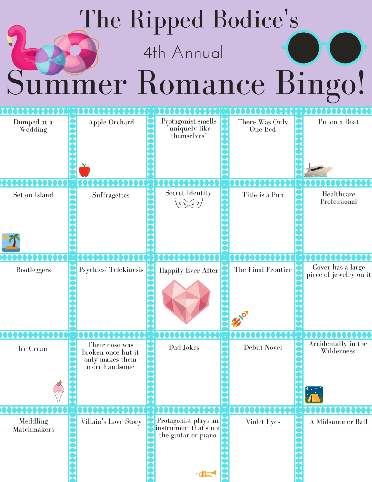 Graphic: Summer Romance Bingo
