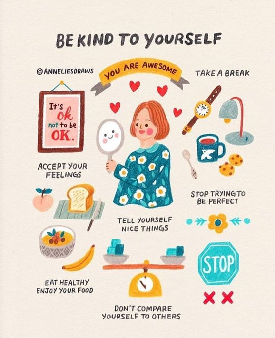 "Graphic: ""Be kind to yourself"""