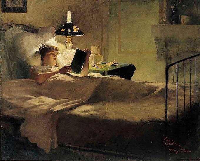 "Image: ""Evening Reading"" by Georg Vilhelm Pauli, shared via LisaBerne.com"
