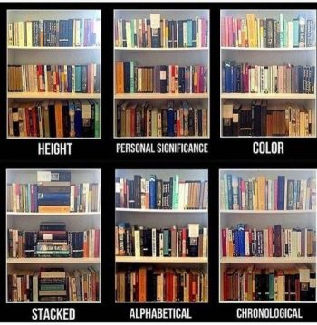Graphic: ways to arrange books, shared via LisaBerne.com