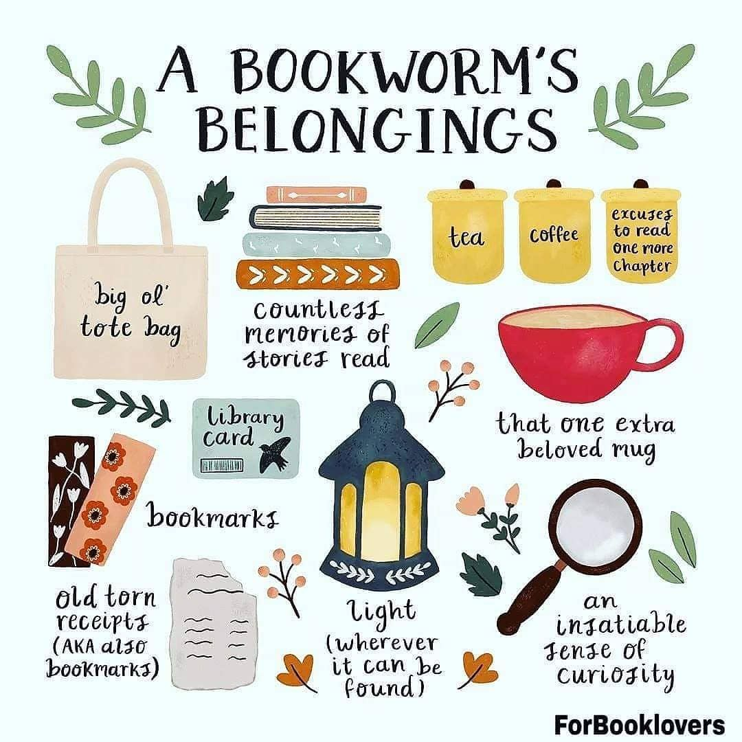 "Graphic: ""A Bookworm's Belongings,"" shared via LisaBerne.com"
