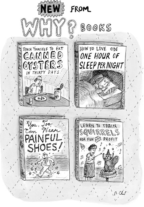 "Comic: ""New from WHY books,"" shared via LisaBerne.com"