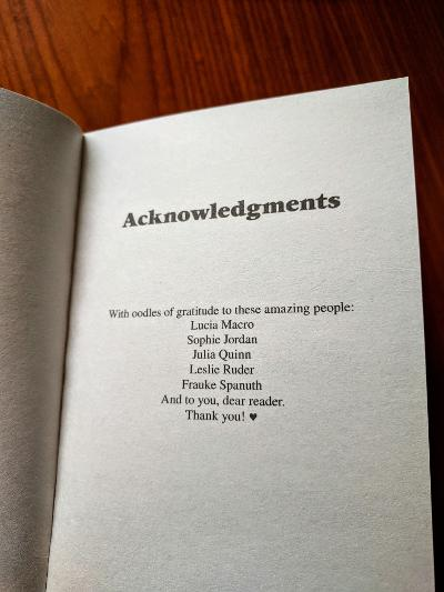 Acknowledgements page - The Worst Duke in the World by Lisa Berne (Avon Books)