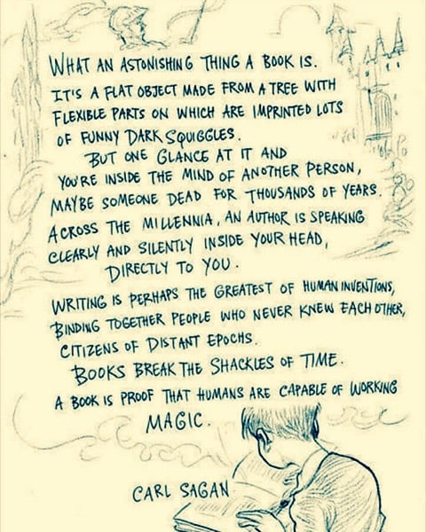 """Graphic: """"What an astonishing thing a book is,"""" shared via LisaBerne.com"""