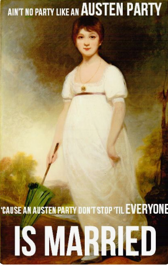 Graphic: Ain't no party like an Austen party, shared via LisaBerne.com