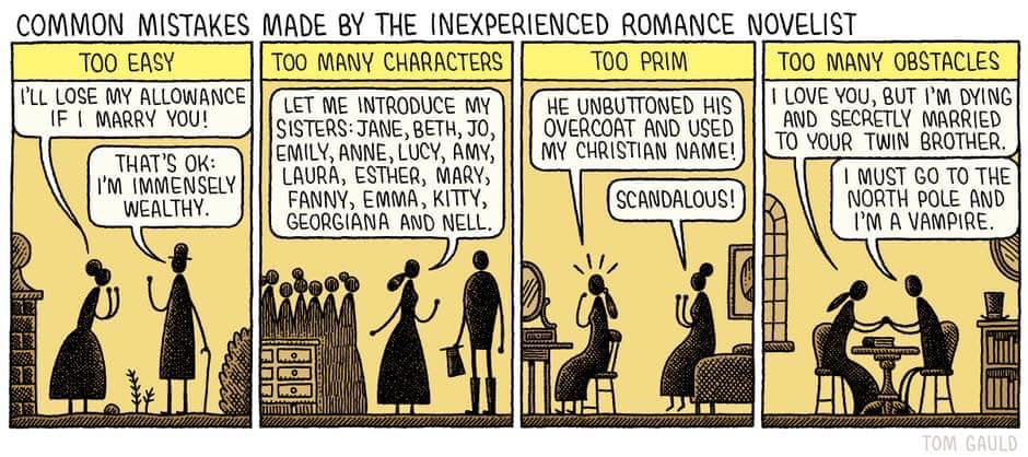 "Comic by Tom Gauld: ""Common mistakes made my the inexperienced romance novelist,"" shared via LisaBerne.com"