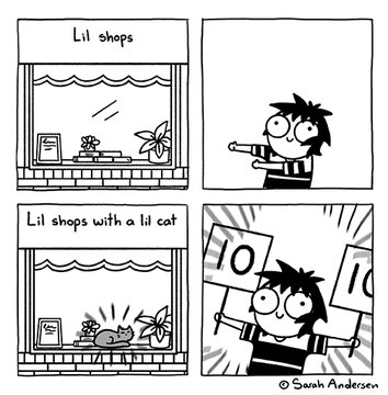 "Comic: ""Lil shops with a lil cat,"" shared via LisaBerne.com"