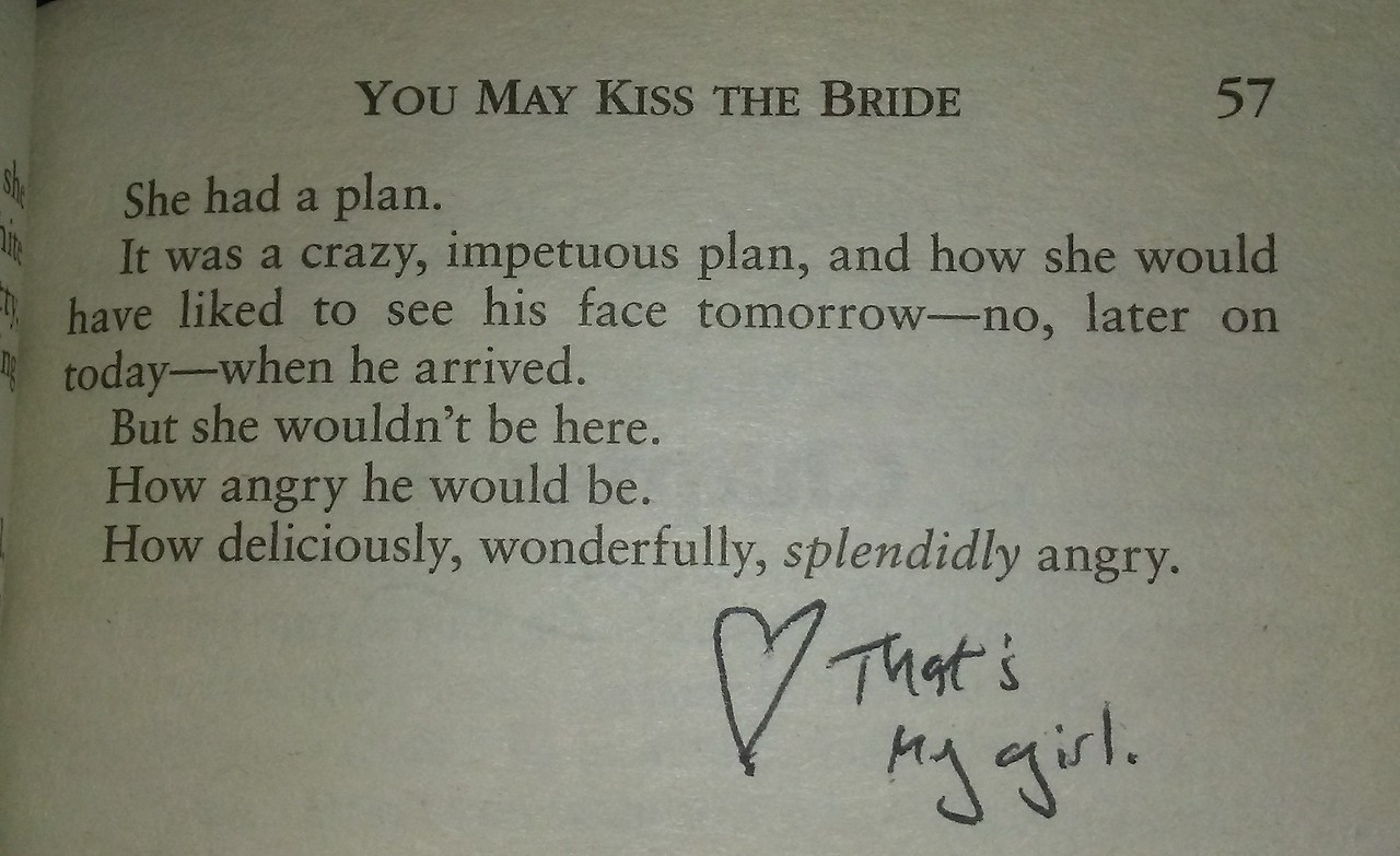 "Image: ""That's my girl,"" an annotation in You May Kiss the Bride by Lisa Berne (Avon Books)"