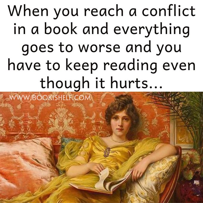"""Graphic: """"When you reach a conflict in a book,"""" shared via LisaBerne.com"""