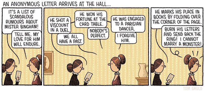 "Comic: ""An anonymous letter arrives at the Hall,"" shared via LisaBerne.com"