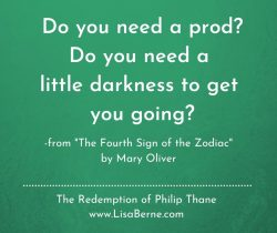 """Graphic: """"Do you need a prod"""": the epigraph to THE REDEMPTION OF PHILIP THANE by Lisa Berne (Avon Books)"""