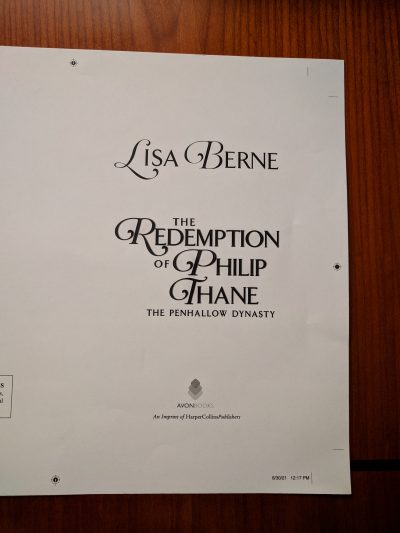 Photo: The Redemption of Philip Thane, by Lisa Berne (Avon Books), galley title page