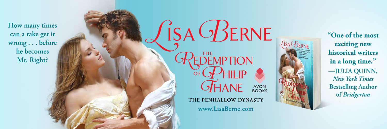Graphic: THE REDEMPTION OF PHILIP THANE (by Lisa Berne; Avon Books) Twitter header